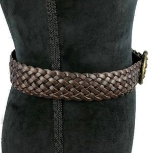 Accessories - Woven Braided Brown Leather Belt